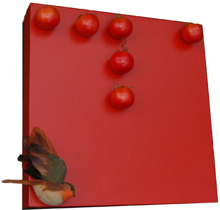 Red Fibinacci Series with Bird and Tomatoes